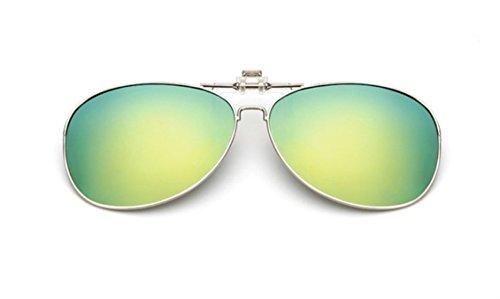 Preisvergleich Produktbild UK1stChoice-Zone Unisex Sonnenbrillen Polarisierte Flip-up Klipp auf Sonnenbrille Gläsern Brille Sun-ClipON0001 (Gold Quecksilber)