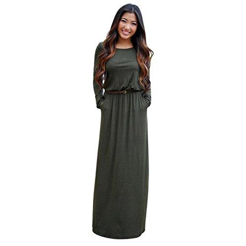 ROPALIA Boho Maxi Robe de soirée Cocktail Femme Robe de Plage Eté Manche Longue(Sans Ceinture) Vert