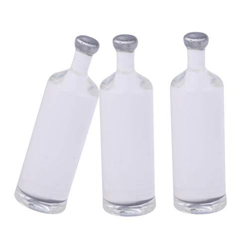 Fenteer 1/12 Puppenhaus Küche Zubehör - 3pcs Miniatur Gefäß Flaschen Modell aus PVC Kunststoff - Schnapsflaschen -