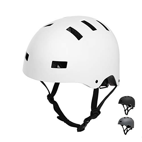 Vihir Erwachsene Fahrradhelm skaterhelm BMX fahradhelm Herren Damen Kinder Sport Helm für Männer & Frauen, Weiß/M