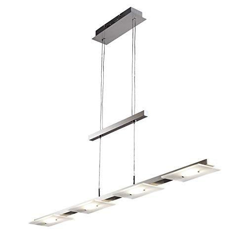 LED Pendelleuchte Höhenverstellbar Leuchte Inkl. LED-Platine IP20 Hängelampe Deckenleuchte LED Wohnzimmerlampe Deckenstrahler Innenleuchte Modern Echtglasscheibe Warmweiss Metall Glas Matt Nickel