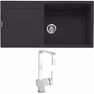 Astini Quadro XL 1.0 Bowl Granite Black Kitchen Sink & Cosmo 5E Tap