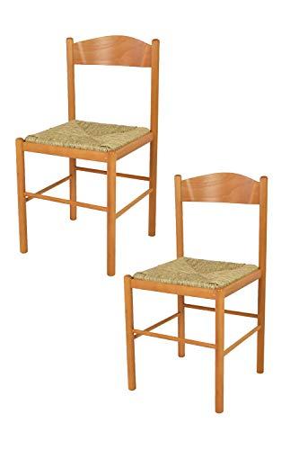 Tommychairs - set 2 sedie classiche pisa 38 per cucina, bar e sala da pranzo, con robusta struttura in legno di faggio verniciato color miele e seduta in paglia vera