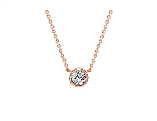 STRASS & PAILLETTES Halskette vergoldet mit Roségold und Imitation Diamant Solitaire Zirkonia (Imitation Diamant-halskette)