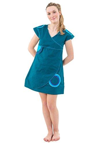 - Robe tunique ethnic style cache coeur et patchs bleu vert Lila - Vert