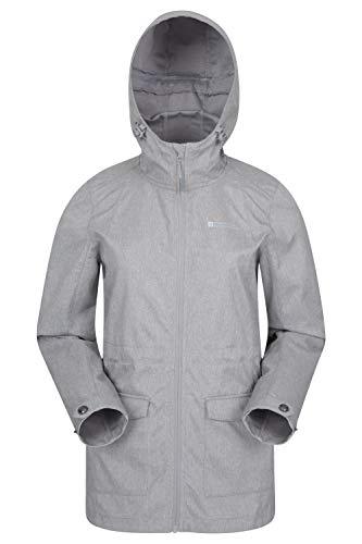 Mountain Warehouse Pines Damen-Softshelljacke - Wasserabweisende Regenjacke, Softshelljacke mit Verstellbarer Passform, Kinnschutz, Front-Taschen - für Sommer, Reisen Hellgrau DE 36 (EU 38)