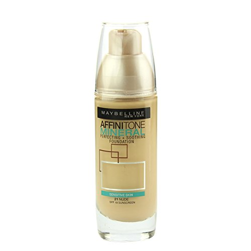 Maybelline Affinitone Mineral Perfecting + Soothing Foundation SPF 18 (21 Nude) 30 ml (Maybelline Make-up Box)