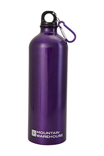 Mountain Warehouse Flasche in Metalloptik mit Karabiner - 1 Liter - Metalloptik, Aluminium-Trinkflasche, wasserdichte Gummiversiegelung - Für Fitness, Sport Violett -