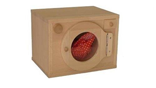 Preisvergleich Produktbild Kinderwaschmaschine aus 18mm massivem Buchenholz   Oberfläche Geölt   Kinder-Waschmaschine als Kinderküchenzubehör   Kleine Waschmaschine für den Einbau in den Spielständer   interessante Spielmöglichkeiten   Drehknöpfe mit Klickgeräusch …