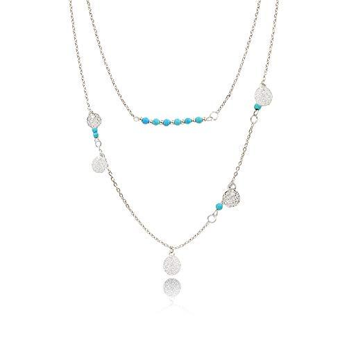 WikiMiu Kette Damen, Halskette Choker Mehrreihige Kette mit Türkis für Frauen (Silber)