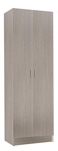 Habitdesign 007144R- Armario Dos Puertas Multiusos, Armario Auxiliar Color Roble, Medidas 180 x 58,5 x 37 cm de Fondo