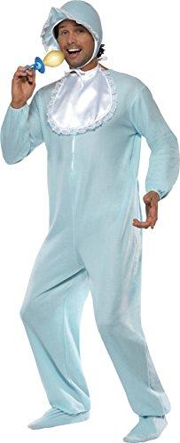 Smiffys, Herren Baby Kostüm, Jumpsuit, Haube und Lätzchen, Größe: One Size, 28602