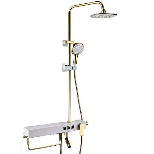 WJSW Bad Dusche Wasserhahn Set Square Thermostat Bar Mischbatterie Brausegarnitur Ventil mit Ablage Duschset Badezimmer Wandmontage Alle Bronze Handbrause (Farbe: Gold) - Bronze Square Bars