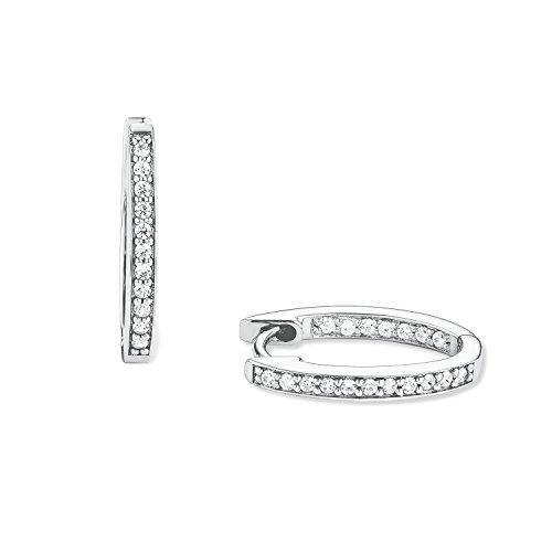 S.Oliver Damen Creolen Ohrringe 925 Sterling Silber rhodiniert Zirkonia 17 mm weiß