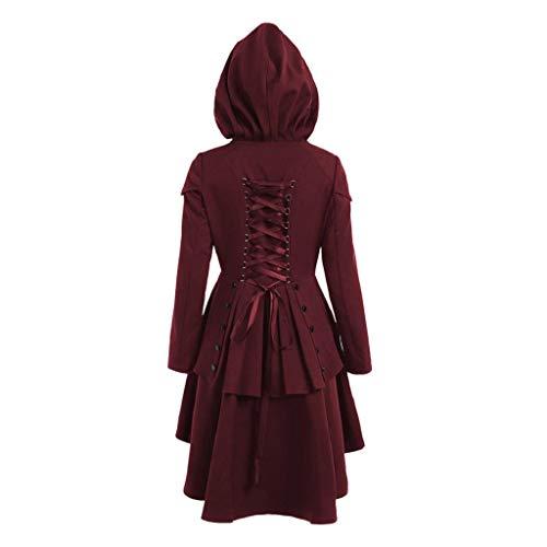 Damen Gothic Lange Mantel Frauen Herbst Asymmetrisch Saum Lace Up Kapuzenmantel Elegant Langarm Kapuzenpullover Mäntel Kleider Trenchcoat Lang Parka Jacken Windbreaker Sweatjacke Tunika Hoodiekleid