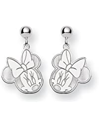 Sterling Silver Gift Boxed Rhodium-plated Disney Minnie Dangle Post Earrings