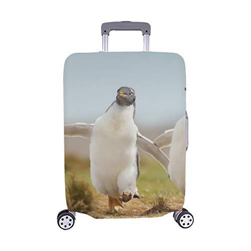 Zwei Junge Gentoo-Pinguin-Küken glücklich Stockfoto Muster-Spandex-Laufkatzen-Reise-Gepäck-Schutz-Koffer-Abdeckung 28,5 x 20,5 Zoll -