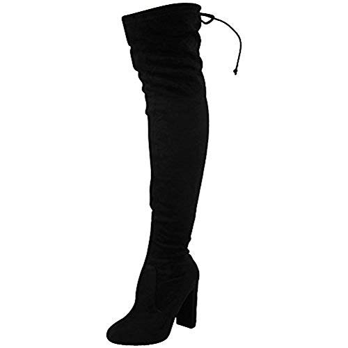 WOMENS DAMEN STRÜMPFE STIEFEL OVERKNEE PARTY STRETCH BLOCK MITTELHOCH GRÖßE 3-8 - Schwarz Stretch Veloursleder, 6 UK / 39 EU / 8 US