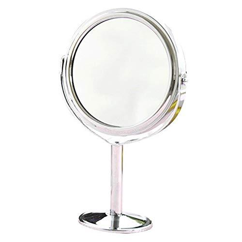 DH JINGZI - Schminkspiegel Spiegel Desktop doppelseitig 2X Vergrößerung drehbare Kommode aus Edelstahl, 2 Arten, 14x8.5cm, 16x8cm (Farbe : Runden)