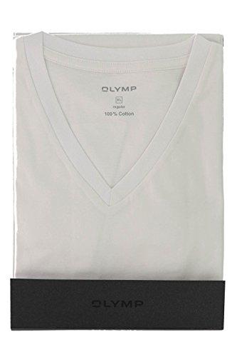 OLYMP Herren T-Shirt Doppelpack V-Ausschnitt- Weiß, L