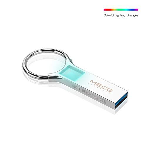 Meco eleverde chiavetta usb 32gb 3.0 luz led colorato memoria usb pendrive con portachiavi unità flash drive memory stick pennette usb pen drive thumb drive metallo regali d'affari per pc/laptop