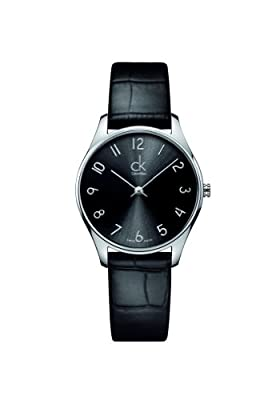 Calvin Klein K4D221CX - Reloj de cuarzo para mujer, con correa de cuero, color negro de Calvin Klein
