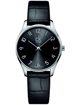 Calvin Klein Unisex-Armbanduhr Analog Quarz Leder K4D221CX