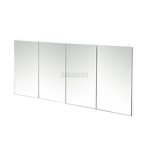 FoxHunter Triple 4 Door Wall Mount Mirror Bathroom Cabinet Unit Storage Cupboard With Shelf White New BC03