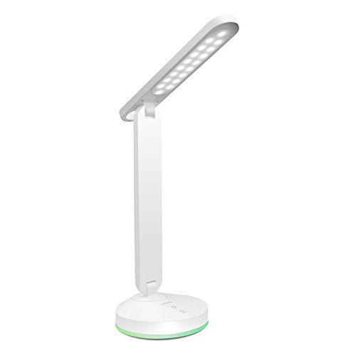ALOTOA Lámpara de escritorio de LED Control sensible al tacto Moder Design Lámparas de mesa Lámpara plegable portátil Dimmable, 3 niveles regulable, batería de aluminio incorporada, luz colorida del ciclo, lámpara del cuidado del ojo, ideal para la lectura, el trabajo, el estudio y la noche