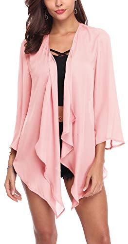 SIRUITON Chiffon Cardigan Damen Casual Blousen Elegant Festlich Shirt 3/4 Bell Sleeve Sheer Lightweight Open Front Top, XX-Large(DE48), Rosa