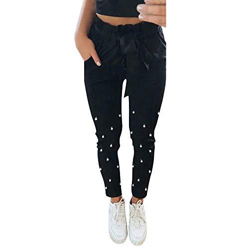 MYMYG Damen Cargo Hosen Frau Elastische Taille Black Mosaic Pearl Pockets Schärpen Ankle Hosen...