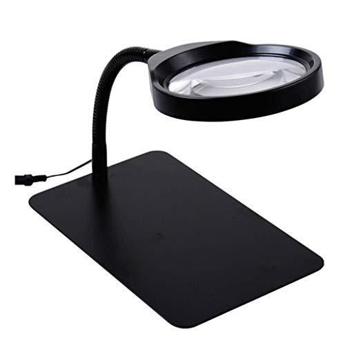 S&k vetro 10x ingrandimento / 36 luci led/luminosità e angolo regolabili/base metallica quadrata/campo visivo ampio 125 mm