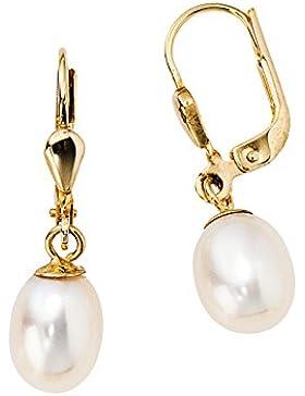 14 k ( 585 ) Perlen Ohrringe mit Perle - China-Zuchtperle - B 7,40 mm - H 26,00 mm