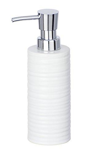 WENKO Seifenspender Mila - Flüssigseifen-Spender, Spülmittel-Spender Fassungsvermögen: 0,26 l, Keramik, 6 x 18,5 x 8 cm, weiß