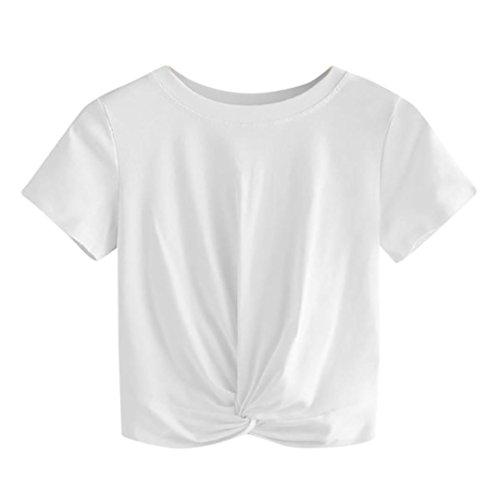 (ESAILQ Damen Tops Frauen Kurzarm V-Ausschnitt Spitze Gedruckte Lose T-Shirt Bluse Oberteile Tees Shirt(S,Weiß))