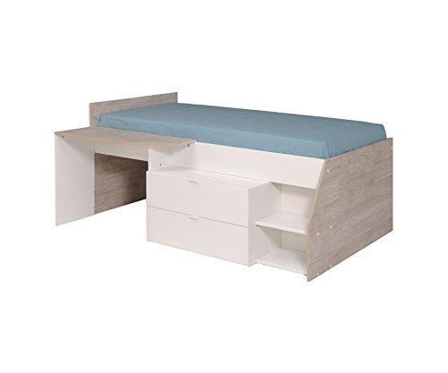 *MILKY Jugendbett Kinderbett 120 x 60 cm mit 2 Schubladen und Schreibtisch, Jugendzimmer Kinderzimmer, Spanplatte, weiß, 135 x 203 x 90 cm*