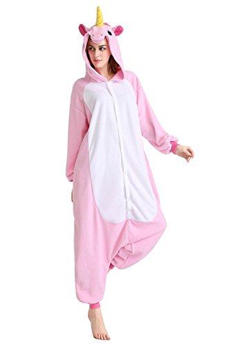 Pyjama Licorne Adulte Kigurumi Combinaison Animaux Unicorn (M(Hauteur:160-168cm), New Pink Unicorn)