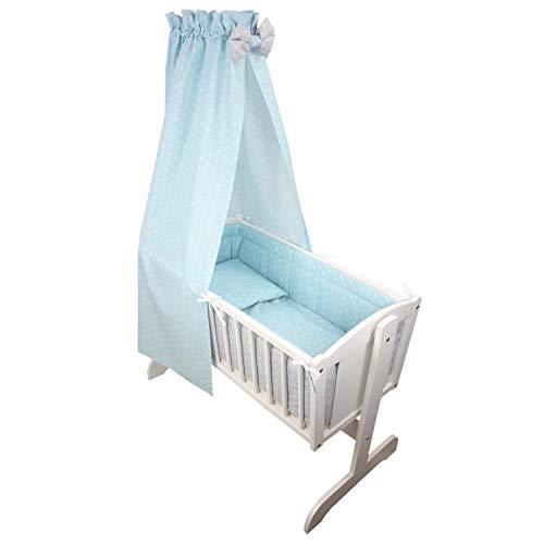 TupTam Unisex Baby Wiegen-Bettwäsche-Set 6-TLG, Farbe: Rosette Grau/Mint, Anzahl der Teile:: 6 TLG. Set