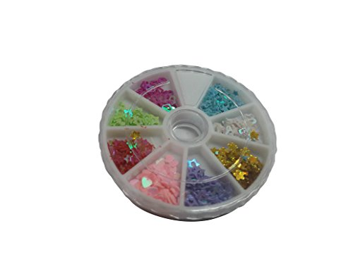 FOK 3D Nail Art Wheel With Glitter, Heart and Star Shape Sequins DIY Nail Decoration Kit-Random Design