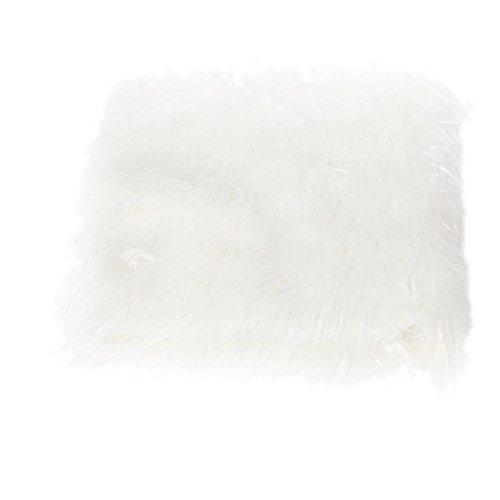 F Fityle Plüsch Decke Teppich Wraps Matte Neugeborenen Baby Fotografie Props, ca. 50x 50 cm - Weiß (Plüsch-teppich-matte)