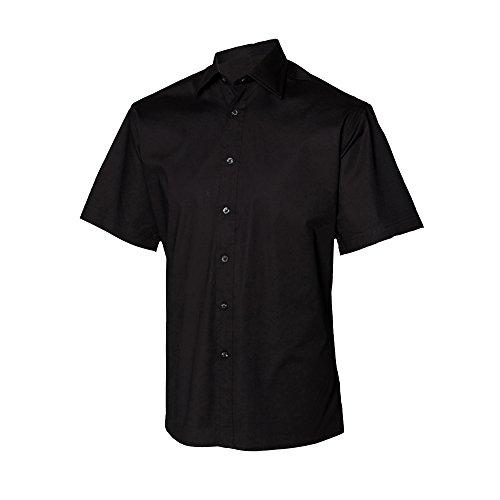 Henbury - Camicia da Lavoro Manica Corta - Uomo Nero