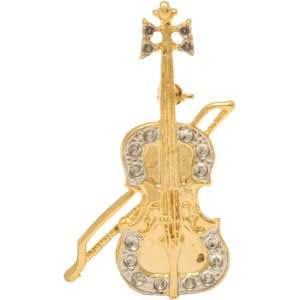 Cyllene Fantaisie - Broche violoncelle dorée