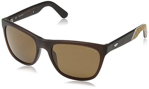 Police Herren S1859 Crypto 3 Wayfarer Sonnenbrille, SEMI MATT BROWN FRAME/BROWN LENS