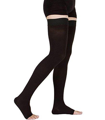 Oberschenkelhoch Kompressionsstrümpfe, undurchsichtig, fester Halt 20-30 mmHg Gradient Kompression mit Silikonband, TOFLY Open-Toe Kompressionsstrümpfe, Behandlung Schwellungen, Krampfadern, ?deme. (Spandex Shaper Leggings)
