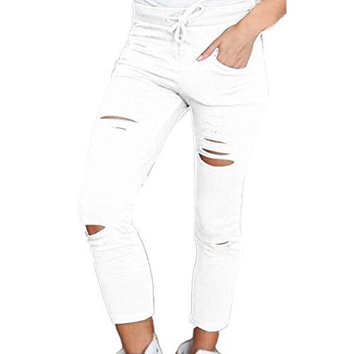 New Women Fashion Cotton Pencil Pants Skinny Nine Points Pants High Waist Stretch Jeans Slim Pencil Trousers Capris Hot White 4XL Aeropostale Capris