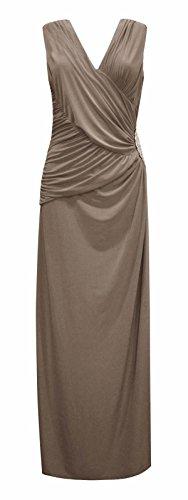 Damen Diamant Seite Trimmen V -Ausschnitt Maxi Kleid Mokka