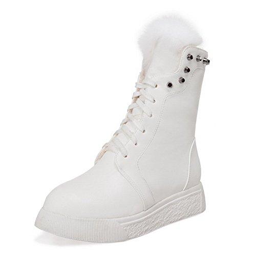 VogueZone009 Donna Tacco Basso Bassa Altezza Chiodato Allacciare Stivali Bianco