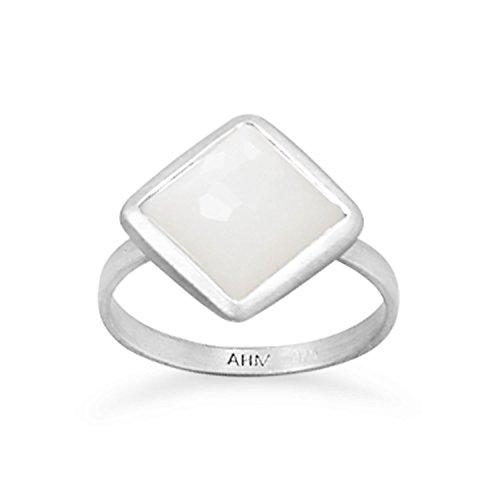 Stapelbar Mondstein Ring (Sterling Silber gebürstet Freeform facettierte Mondstein stapelbare Ring)