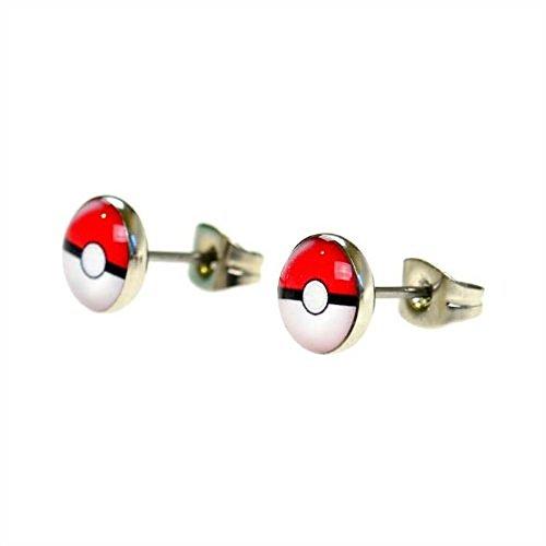 Image of Jewellery of Lords Pair of 12mm Pokemon Pokeball Stainless Steel Stud Earrings Disk Saucer Pikachu