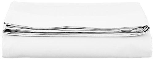 AmazonBasics Bettlaken, Baumwoll-Satin Fadenzahl 400, knitterarm, 180 x 290 + 10 cm - Weiß -